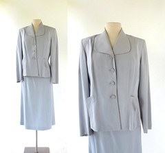 1940s dove gray gabardine suit, from Lampl (Small Earth Vintage) Tags: smallearthvintage vintageclothing womensfashion vintagefashion suit 1940s 40s dovegray lampl womenssuit skirtsuit