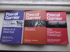 27th August 2016 (themostinept) Tags: pascalgarnier gallicbooks paperbacks fiction frenchliterature mooninadeadeye thefrontseatpassenger books boxes novels