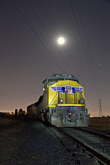 Moonlight on the SN (caltrain927) Tags: union pacific railroad western railway museum bay area electric association emd sd70m mow train work maintenance way moon the night nighttime light painting cannon ca california