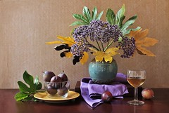 Toast to First Day of Fall (Esther Spektor - Thanks for 11+ millions views..) Tags: stilllife naturemorte bodegon naturezamorta stilleben naturamorta composition art creativephotography arrangement artisticphoto autumn september fall tabletop bouquet leaf fruit plum vase plate bowl goblet wine napkin box glass ceramics availablelight reflection green yellow purple teal golden burgundy brown estherspektor canon