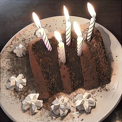 The older I get, the more involved birthday candle wishes become... (Renee Rendler-Kaplan) Tags: birthday mine september17th cake candles whippedcream wishes food dessert reneerendlerkaplan 5 five slice plate served plated iphone iphoneography makeawish blowthemout chocolate layercake frosting symphonyscafe evanston evanstonillinois celebrate yummy indoors inside restaurant lit lighted