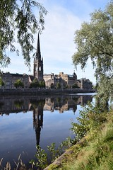 Perth (Helen L Rix) Tags: river tay perth scotland church spire reflections trees blue sky still water street september