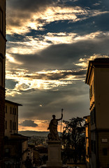 Setting sun in the Afterstorm Sky in Tuscany (filippogatteschi) Tags: bestsunsets sunset dying light daylight lateafternoon settingsun cloudscape colorsinthesky shades shadows highlights composition italy arezzo canonphotography canoneos70d tamron2470 tamron canon tuscany clouds cloudporn skyscape landscape urbanlandscape countryside country town statue perspective layers architecture pointofview cs6edit travel photography hometown historical city frame ruleofthirds medieval downhill summer september enterthenight afterstorm sunrays