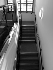 Upwards (will668) Tags: uk greatbritain light england blackandwhite bw white black reflection window glass architecture stairs hall view unitedkingdom steps stairwell hallway landing upstairs reflect frame handrail framing windowframe bannister throughthewindow secondfloor walllight downthestairs