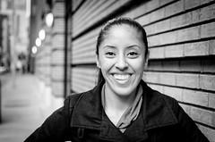 All Smiles (Photography by Servando Miramontes) Tags: sf sanfrancisco street city portrait blackandwhite color monochrome beautiful beauty portraits 35mm photography nikon flickr bokeh candid homeless poor deep streetphotography 85mm vivid 28 18 hernandez fstop jaylynn d7000