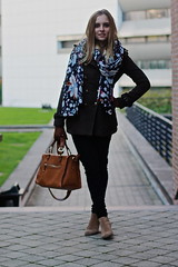 Can I wear flowers in winter? (MartaCanga) Tags: pictures street city brussels portrait urban woman black flower girl beauty look fashion scarf pose bag photography outfit model beige colours belgium boots photos fashionphotography style jeans camel blonde modelling flowerscarf streetstyle blackjeans camelbag winterlook streetsyle beigeboots dayoutfit martacanga