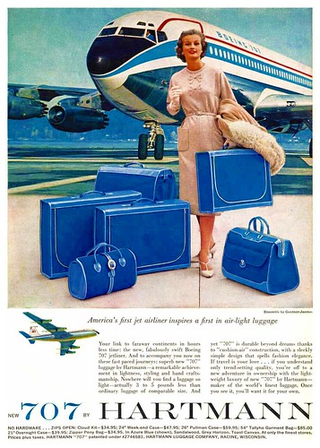 airplanes luggage planes 1960s boeing hartmann airliners airtravel midcentury boeing707 jetage