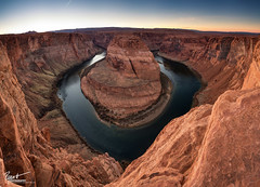 Horseshoe Bend Panorama (Ryan C Wright) Tags: sunset red arizona panorama cliff nature landscape december bend az canyon page coloradoriver gooseneck horseshoebend