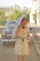 Let's going for a walk! (fireflite59) Tags: portrait classic girl car umbrella model russia soviet oldtimer omsk volga helios  gaz21 sovietlens   21
