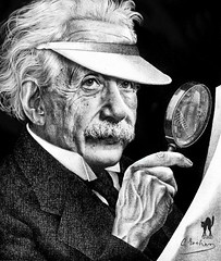 ALBERT by ESCHER (my artistic fake!) (The PIX-JOCKEY (visual fantasist)) Tags: portrait art history photoshop joke einstein fake manipulation science humour vip photomontage chop draw escher fotomontaggi robertorizzato pixjockey