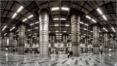 Warped ! (Fernando Miguel Vicente) Tags: city railroad travel light people urban white abstract motion blur reflection portugal public station silhouette metal architecture modern stairs speed train canon