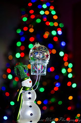 Snowman offering [Explored] (Arizphotodude) Tags: christmas lights snowman bokeh ornament brightcolor explored