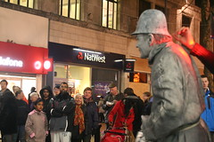 Statue Man On New Street (johngarghan) Tags: christmas street uk england statue night shopping photography birmingham artist december shadows audience unitedkingdom performance westmidlands newstreet peoplewatching leapyear performingart johngarghan