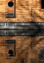 Wooden port hole (www.davidrosenphotography.com) Tags: london water reflections canal lock barge littlevenice waterways barges canalboats
