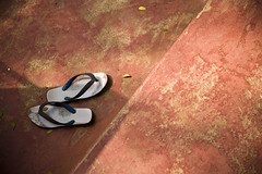 Seen Better Days (Shubh M Singh) Tags: life old blue red india white still floor rubber flip worn flops weathered orissa straps slippers hawai chappal cuttack odisha chapaal