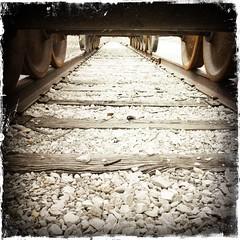 Perspective (bethbikes33) Tags: railroad vanishingpoint traintracks perspective noflash leadinglines hipstamatic kodotxgrizzledfilm libatique73lens