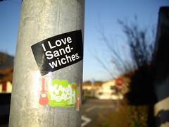 I Love Sand-Wiches. (Sticky Finger) Tags: music france west love beach sticker surf south hossegor hardcore skate snowboard sandwiches sud kana landes aquitaine kanabeach ouest i artchemist