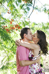 How to Kiss (AnnuskA  - AnnA Theodora) Tags: pink flowers trees light red portrait white green leaves shirt leaf kissing couple colorful afternoon dress