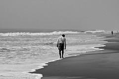 I am losing your footsteps (acharekar) Tags: sea woman india white man black afternoon sony tide figures orissa footstep rx100