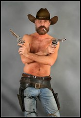 Cross Me (Cowboy Tommy) Tags: shirtless hairy hot sexy beard model furry cowboy blueeyes handsome wranglers crotch jeans western levis rugged holster bulge treasuretrail