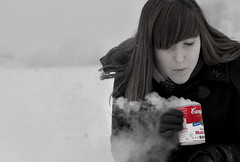Campbell's Soup (_wysiwyg_) Tags: winter red portrait snow girl rouge tin soup countryside adolescente smoke hiver soupe teen teenager neige campbell ado campagne fille teenage conserve adolescence fume jeunefille selectiveblackandwhite cannedsoup botedeconserve