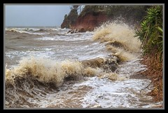 Red Cliffs of Scarborough being bashed-01= (Sheba_Also) Tags: red being cliffs scarborough bashed