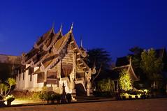 wat chedi luang (ACC88) Tags: blue thailand temple asia buddhism mai hour chiangmai bluehour wat chiang luang chedi