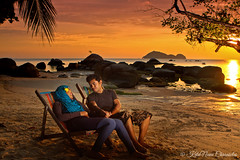 Beauty of A Silent Conversation (bijoyKetan) Tags: ocean trip sunset beauty thailand golden silent hour conversation koh phangan strobist