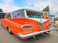 ' Come on Terry have a look at this ' * (John(cardwellpix)) Tags: sunday7thaugust20161959chevroletwagoninvibrantmetallicvibrantmarmaladeorangebrooklands weybridge surreyuk 1959 chevrolet parkwood station wagon lo rider