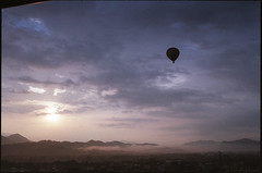 [ A ] new day has come, (Da Niel Photo) Tags: laos hotair balloon morning dusk flying limestone twinpeakvalleyphotography tpvp yashica fx3 super 2000 35mmf28 ml fuji c200 epsonv550 travel travelphotography backpacking asia sunrise mountains