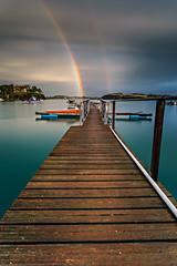 Minihic rainbow (Ludovic Lagadec) Tags: minihicrance rance riviere river reflets randonne bretagne breizh brittany beach bretagnenord bw110 gnd8 nisi nuage rainbow arcenciel filtrend france filtre grandemare gr34 dream digue pier jete jetty nd64 sky boat bateau illeetvilaine