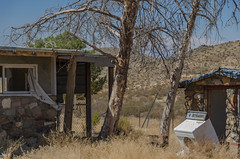 abandoned (what's_the_frequency) Tags: lightbox 52project2016 abandoned outdoors tree trees house shack bricks redmountain california uscahwy395 californiahwy395 395 californiausroute395 dry summer september nikon d5100 18200 sigma18200