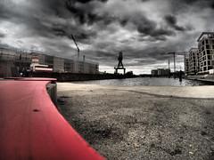 Neuer Hafen Offenbach (rippchenmitkraut66) Tags: fisheye olympus zuiko 9mm colour mft omd new today artfilter retro bw red offenbach deutschland europe germany city hafen
