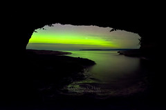 "MI16-0911-2773 ""Cave Lights"" by Aubrieta V Hope Michigan Scenery (Aubrieta V. Hope) Tags: auroraborealis northernlights seacave lakesuperior starrynight michigansupperpeninsula up michiganscenery algercounty photography m28 usa"