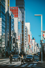 Tokyo__3 (hans-johnson) Tags: ginza tokyo japan street  chuo urban city machi blue people human     kanto nihon nippon metro metropolits metropolitan architecture canon eos 5d vsco vscocam vscofilm lightroom 5d2 sky