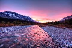 Blood in the Water (RH Miller) Tags: rhmiller reedmiller landscape water mosquitocreek sky sunset mountains creek banffnationalpark alberta canada