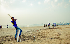 well bowled! ([s e l v i n]) Tags: india game play cricket bowling bombay batting mumbai stumps versova beachcricket versovabeach indiancricket ©selvin boysplayingcricket