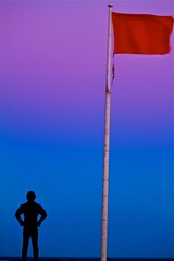 Against the Wind (Turbo666) Tags: blue abandoned beach colors silhouette stand twilight alone dusk space hour mywinners goldstaraward