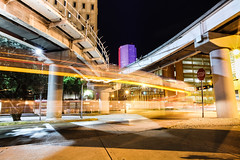 GOLDEN LIGHTS (Rober1000x) Tags: longexposure architecture night lights downtown florida miami metrorail 2012 metromover