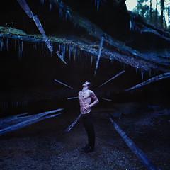 Winters Torture (Cameron Bushong) Tags: blue trees ohio man cold water dark blood nikon rocks stream agony cave 18 abs icicles cuts