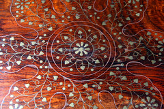 Day 328 - Inlaid wooden table-top (Ben936) Tags: wood floral table pattern traditional decoration craft copper brass tabletop inlay inlaid