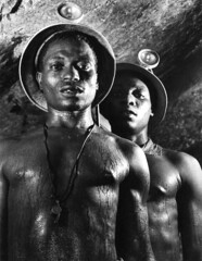 Bourke-White, Margaret (1904-1971) - 1950 Gold Miners, Johannesburg, South Africa (RasMarley) Tags: africa portrait southafrica gold photographer american 1950s 1950 johannesburg miner doubleportrait bourkewhite margaretbourkewhite