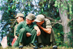 Soldiers Laughing (F Street) Tags: river cambodia border delta vietnam soldiers mekong