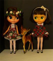 vintage girls with vintage deer in lovely vintage fabric dresses!!!