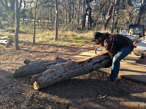 Jake got us a citation for moving this giant log to use as a bench.