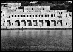 Lazzaretto Hospital (albireo2006) Tags: sea wallpaper blackandwhite bw blackwhite mediterranean background arcade arches malta pb bn portico lazaretto blackandwhitephotos lazzaretto manoelisland blackwhitephotos lazzarettohospital