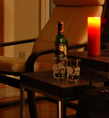 One for the road? (LeftCoastKenny) Tags: red table glasses chair candle backpack utata scotch ironphotographer utata:description=hide utata:project=ip165