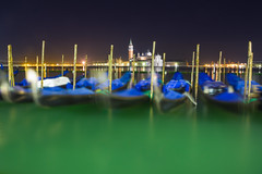Bottle Green (Moored Gondolas By Night), Venice (flatworldsedge) Tags: venice motion blur green tower church water night san lagoon steeple clear dome opaque gondola poles maggiore venezia giorgio glassy moorings uploaded:by=flickrmobile flickriosapp:filter=nofilter