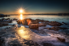 Winter sunset (Lukas Larsed) Tags: winter sunset sea beach water oslo norway landscape wideangle softfocus canon5d polarizer canonef1740mmf4lusm hdr highdynamicrange goldenhour bygdy paradisbukta exposureblending photomatix lowiso highaperture canon5dmki canon5dclassic