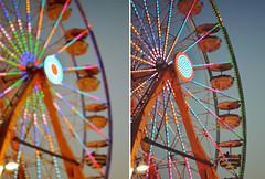 Ferris Wheels are the joys we overlook (itsjustOriena~) Tags: life sunset summer toronto night fun lights evening amusement colours bright time wheels parks ferris exhibition cne ferriswheel diptychs